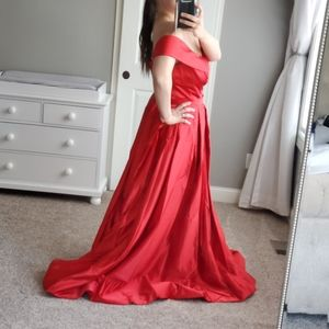 Plus Size Red Gown With Slit